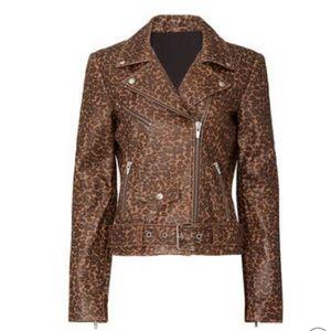 Veda leopard print Smooth Jayne Leather Jacket
